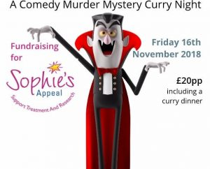 SCREAM murder mystery and Curry night Sophies Appeal